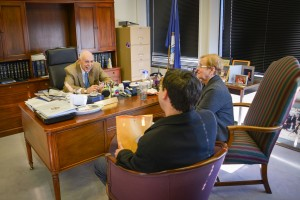 Del. Bob Tata listens to Brad Lerner and Dorothy Salomonsky.