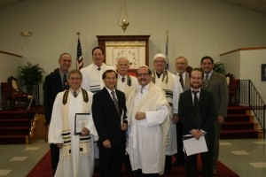 Bottom row: Cantor Elihu Flax, Rabbi David Barnett, Cantor Gordon Piltch, Rabbi Marc Kraus. Second row: Rabbi David Goldstein, Cantor David Proser, Chaplain Michael Horwitz, Rabbi Jeffery Arnowitz. Third row: Cantor Larry Tiger and Rabbi Michael Panitz.