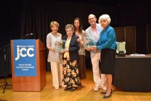 Marcia Hofheimer presents The Thomas L. Hofheimer Humanitarian Award to Dana Cohen and Kitty Saks. Marcia Hofheimer, Kitty Saks, Tonie Wilkins, Marty Einhorn and Dana Cohen.