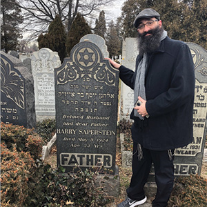 Jason Silverstein at the newly found resting place of his great grandfather.