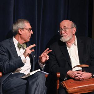 Dennis Manning, Norfolk Academy headmaster, and Rabbi Joseph Telushkin.