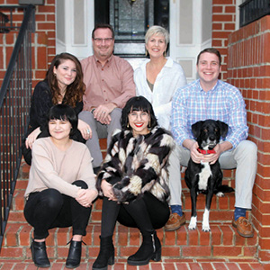Top row: Hannah Yarrow (step-sister), Rick Yarow (step-father), Debi Yarow (mother), and Ben Yarow (step-brother). Bottom row: Gracie White (sister), Faith White (recipient of the Stein Family Scholarship), and Jake (good dog).