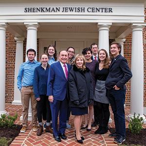 The Shenkman Jewish Center ribbon cutting ceremony with Rabbi Gershon Litt, student leaders,  and Mark and Rosalind Shenkman.