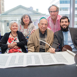 Front: Carolyn and Herb Bangel with Rabbi Menachem Bialo. Back: Nancy Bangel and Brad Bangel.