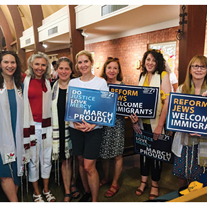 The Reform women clergy in El Paso: Cantor Hollis Schachner, Cantor Rosalie Boxt, Rabbi Sarah Reines, Rabbi Joui Hessel, Rabbi Kim Geringer, Cantor Jennifer Rueben, and Rabbi Margie Slome.