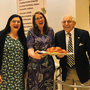 Rabbi Rosalin Mandelberg, Cantor Jennifer Rueben, and Bob Liverman.