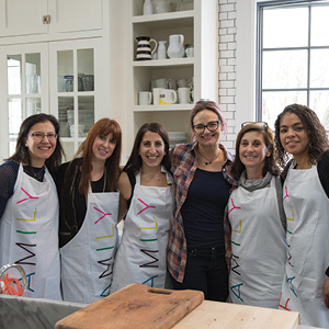 Hosts of a Bat Mitzvah brunch in the Cardons' kitchen: Jan Konikoff, Stacie Caplan, Rachel Abrams, Elyse Tapper Cardon, Alicia Friedman, and Ashley Zittrain.