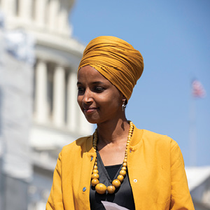 Aurora Samperio/NurPhoto via Getty Images Rep. Ilhan Omar is seen outside the Capitol Hill building, Sept. 12, 2019.