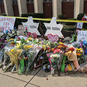 Dmitry Brant Memorials for the victims of the Tree of Life synagogue shooting in Pittsburgh, Pa., October 31, 2018.