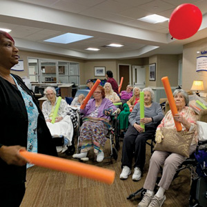 Beth Sholom Village residents participate in exercise class.