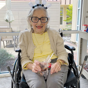 Resident Sonia Land gets into the spirit of the Fall Festival.