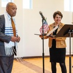 Don Victor Mooney, president of HR 1242 Resilience Project  and Terri D. Budman, Ohef Sholom Temple president.
