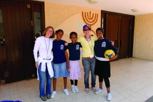 Stephanie Calliott and Amy Levy with kids at Nee Michael_1