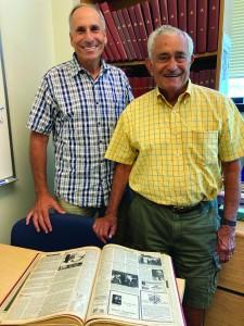 Doron Kissinger Kaynar and Jim Eilberg peruse old issues of Jewish News.